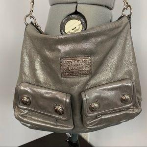 Coach Poppy Silver Metallic Hobo Crossbody Bag